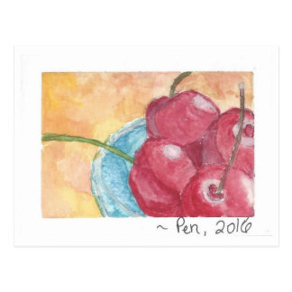 Cherries in Blue Bowl - postcard (watercolor)
