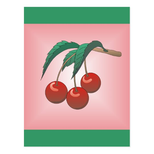 Cherries on Pink Postcard