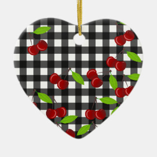 Cherries pattern ceramic heart ornament