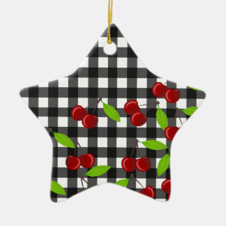 Cherries pattern ceramic star ornament