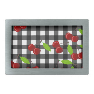 Cherries pattern rectangular belt buckles