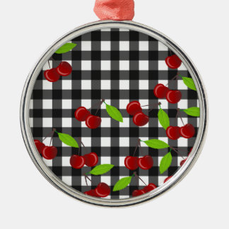 Cherries pattern Silver-Colored round ornament