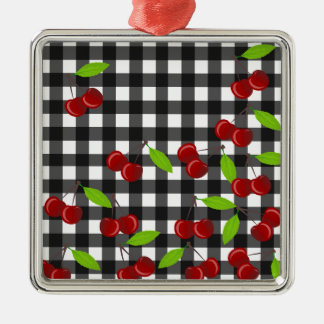Cherries pattern Silver-Colored square ornament