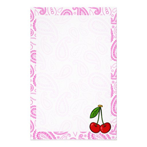 Cherries; Pink Paisley Customized Stationery