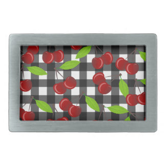 Cherries plaid pattern belt buckles