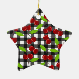 Cherries plaid pattern ceramic star ornament