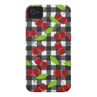 Cherries plaid pattern iPhone 4 cover