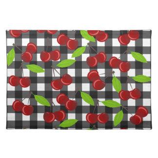 Cherries plaid pattern placemat