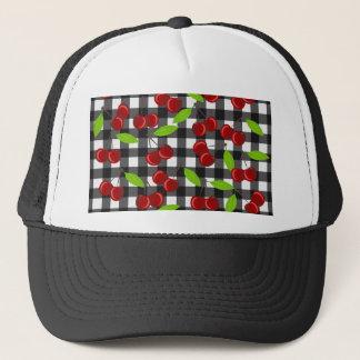 Cherries plaid pattern trucker hat