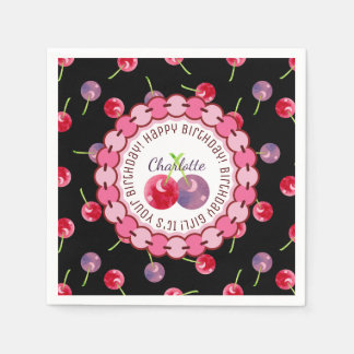 Cherries Watercolor Personalized Birthday Disposable Napkins