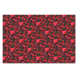 cherries with heart love tissue paper