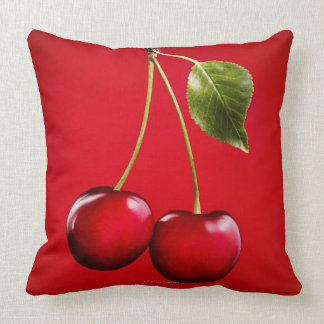 Cherries with Leaf on Red Background Throw Pillow