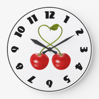 Cherries With Stems Clock