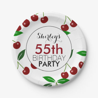 Cherry 55th Birthday Party Paper Plates 7 Inch Paper Plate