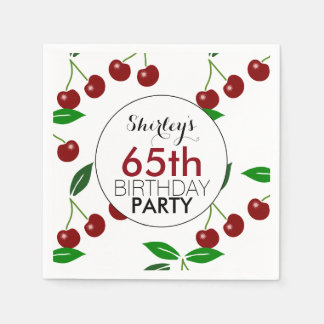 Cherry 65th Birthday Party Paper napkins