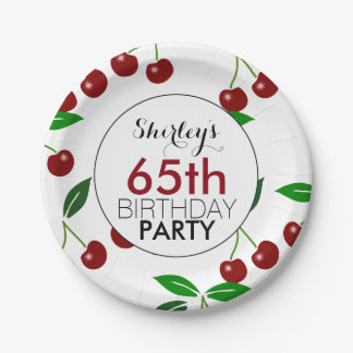 Cherry 65th Birthday Party Paper Plates 7 Inch Paper Plate