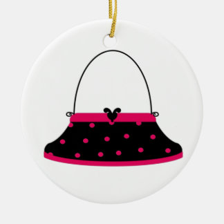 Cherry and Black Purse Ceramic Ornament