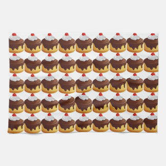 Cherry and Chocolate Topped Cake Kitchen Towel