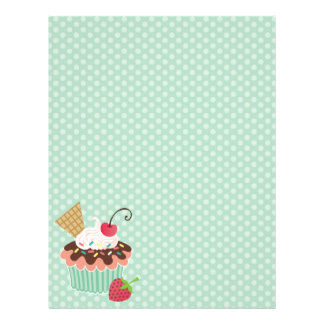 Cherry and Mint Cupcake Polkadots Letterhead