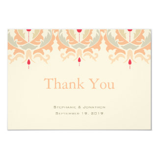Cherry and Peach Damask Wedding Thank You Card