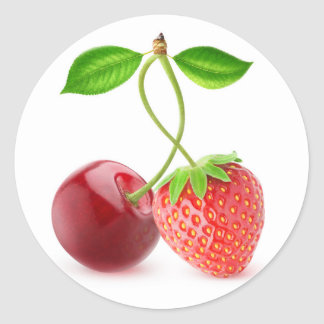 Cherry and strawberry together classic round sticker