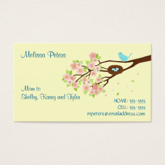 Cherry Blossom and Bird Mom Profile Card