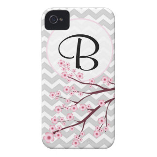 Cherry Blossom and Chevron Monogram iPhone 4/4S Case-Mate iPhone 4 Case