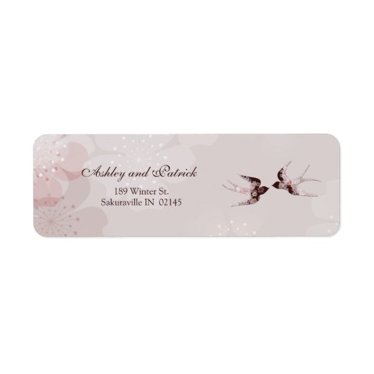 Cherry Blossom and Floral Swallows Address Label