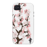 Cherry Blossom and Kanji Case-Mate Tough Case-Mate iPhone 4 Cases