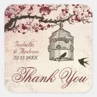 Cherry Blossom and Love Birds Square Sticker