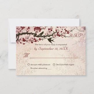 Cherry Blossom and love birds wedding RSVP