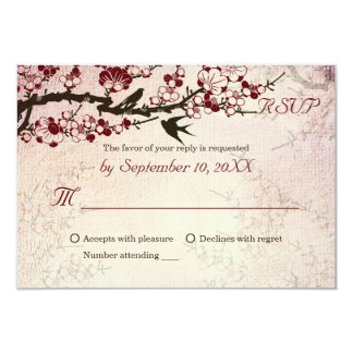 "Cherry Blossom and love birds wedding RSVP 3.5"" X 5"" Invitation Card"