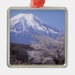 Cherry Blossom and Mt. Fuji Silver-Colored Square Ornament