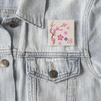 Cherry Blossom Art 2 Inch Square Button