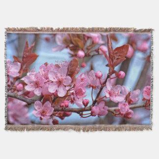 Cherry Blossom Asia Throw Blanket
