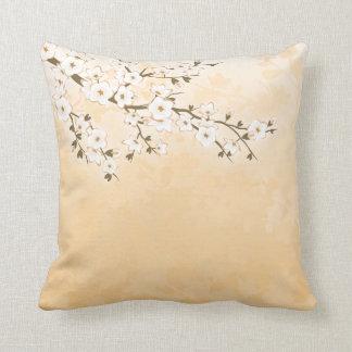 Cherry Blossom Beige Cream Asia Floral Throw Pillow