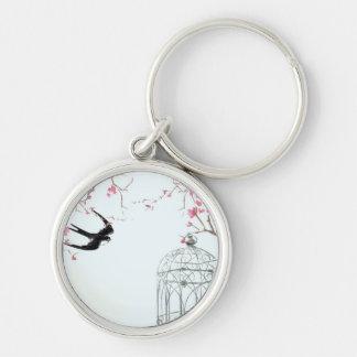 Cherry blossom bird birdcage keyring - unique gift Silver-Colored round keychain