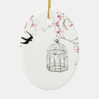 Cherry blossom, bird, birdcage - original, stylish ceramic ornament