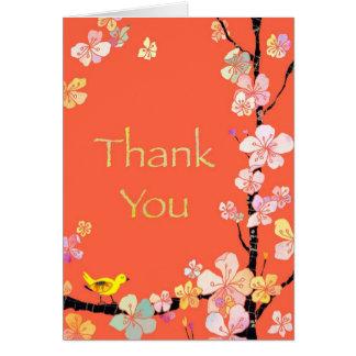 Cherry Blossom Bird Orange Thank You Card