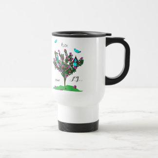 Cherry Blossom Bird Tree Monogram Love Peace Joy Travel Mug