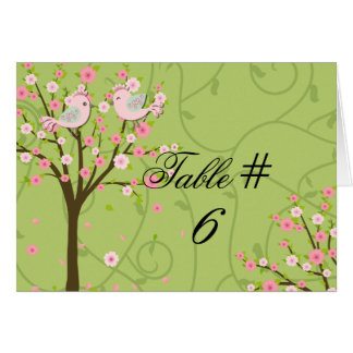 Cherry Blossom Birds Customized Table Number Cards