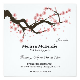 Cherry Blossom birthday party Card