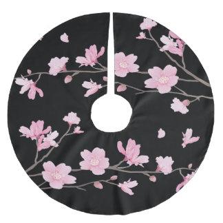 Cherry Blossom - Black Brushed Polyester Tree Skirt