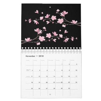 Cherry Blossom - Black Calendars