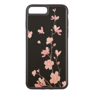 Cherry Blossom - Black Carved iPhone 8 Plus/7 Plus Case