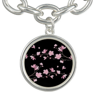 Cherry Blossom - Black Charm Bracelets