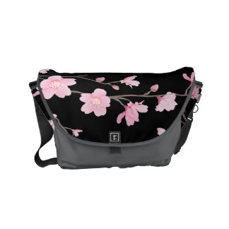 Cherry Blossom - Black Courier Bags