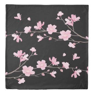 Cherry Blossom - Black Duvet Cover