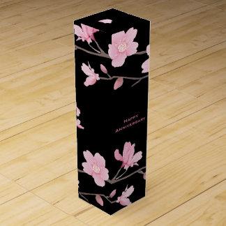 Cherry Blossom-Black-Happy Anniversary Wine Box