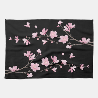 Cherry Blossom - Black Kitchen Towel